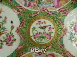 N921 Antique Qing Chinese Canton Famille Rose Porcelain Medalion Dish Plate