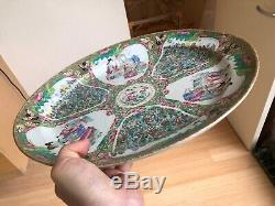 NICE! LARGE 19th CENTURY CHINESE ROSE MEDALLION HAND-PAINTED PORCELAIN PLATTER
