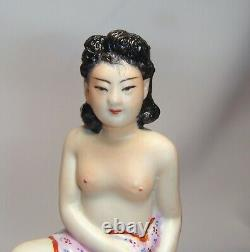 Nude Girl Antique Vintage Old Chinese Porcelain Statue Figurine Ashtray China