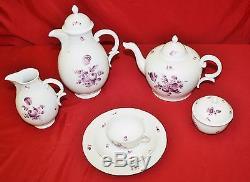 Nymphenburg Hand Painted Porcelain 42 Pc Tea Set Purple Floral Motif, E1419