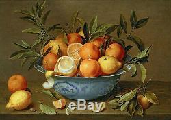 Oil painting Hand painted still life fruits Oranges lemons in porcelain bowl