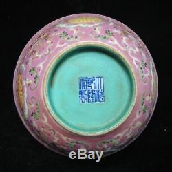 Old Chinese Famille Rose Hand Painting Porcelain Bowl Marked QianLong Period