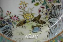 Old Chinese Hand Painted Flowers Birds Porcelain Plate XianFeng Mark