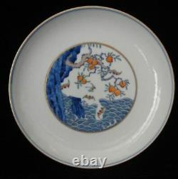 Old Chinese Hand Painting Peaches & Bats Porcelain Plate Dish Marked YongZheng