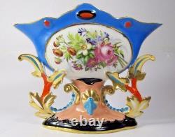 Old Paris Porcelain Antique French Centerpiece Vase Hand Painted Planter c1880