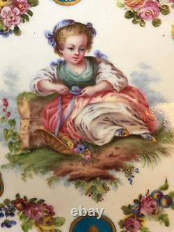 Original Antique Sevres Porcelain Hand Painted Plate With Girl
