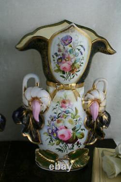 PAIR 19thC antique Bayeux Paris porcelain floral hand paint decor French Vases
