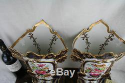 PAIR 19thC old Bayeux Paris porcelain floral hand paint decor French Vases