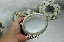 PAIR 19thc French vieux paris porcelain floral hand paint Vases