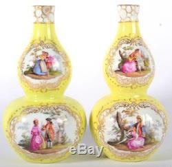 PAIR ANTIQUE MEISSEN fine porcelain Vases Yellow Double Gourd hand painted