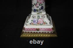 PAIR Handpainted Porcelain Candlestick Lamps Beautifully Mounted With Brass