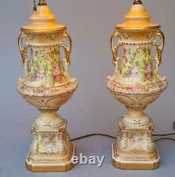 PAIR VINTAGE PORCELAIN HAND PAINTED WithFLOWERS TORCHIER TABLE LAMPS With DIFFUSERS