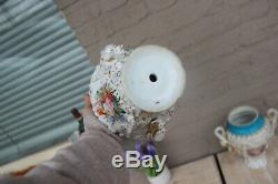 PAIR antique French vieux paris porcelain vases Floral hand paint decor