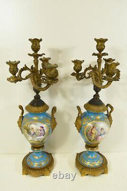 PAIR antique Sevres porcelain hand paint candelabras candle holder caryatid