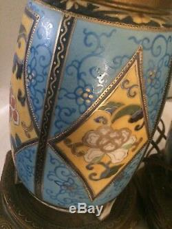 PAIR of Vintage Hand Painted Geometric Floral Porcelain Table Lamps