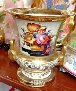 Pair 19th Century Old Paris Porcelain Campana Vases w Hand-Painted Flowers