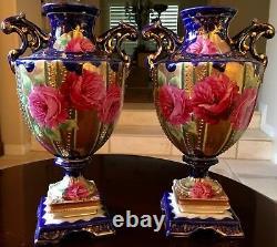 Pair Antique URN VASES Hand Painted in Cobalt Blue Gold Gilt & Floral Decoration