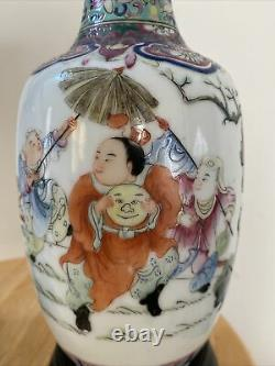 Pair Chinese Famille Rose Porcelain Vases w Kids Playing Hand Painting