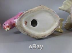 Pair Chinese Porcelain Dove Figurines Oriental Chinoiserie Palm Beach Boho Chic