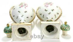 Pair French Sevres Style Hand Painted Porcelain Twin Handled Urns, Late 19th C