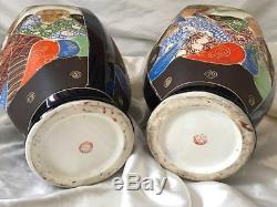 Pair Matching Vintage Beautiful Hand Painted Japanese Satsuma Porcelain Vases