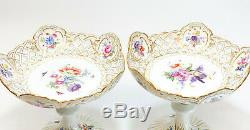 Pair Meissen Germany Hand Painted Porcelain Compotes, Reticulated Rim