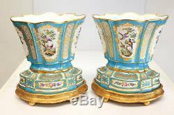 Pair Minton Hand Painted Porcelain Vases on Base, 1869. Figural Birds