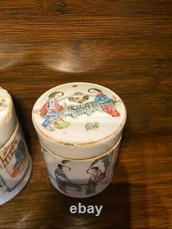 Pair Of Guangxu Chinese Antique Porcelain Famille Rose Pot With Ladies 19th C