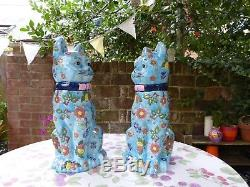 Pair Of Large French Hand Painted Porcelain Cat Figurines