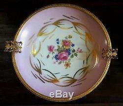 Pair Ormolu Gilt French Limoges Brass Trim Hand Painted Porcelain Ashtray Dish