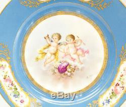Pair Sevres France Hand Painted Porcelain Putti Cabinet Plates, c1900