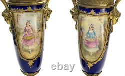 Pair Sevres Style France Porcelain Hand Painted Decorative Urns, circa 1910