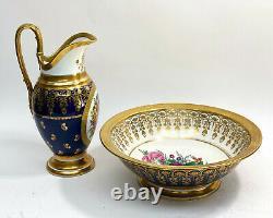 Pair Sevres Style Hand Painted Cobalt Porcelain Wash Basin, 19th Century