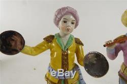 Pair Sitzendorf Porcelain Turkish Band Figures Hand Painted