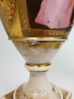 Pair of 19th C Vieux Paris French Handpainted Porcelain Vases
