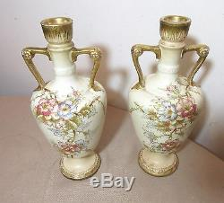 Pair of 2 antique hand painted Royal Bonn German floral gilt porcelain vases
