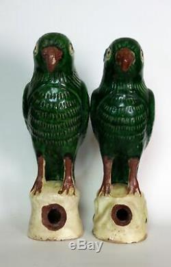 Pair of Antique Chinese Sancai Pottery Porcelain Parrots Figures Roof Tiles