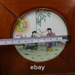 Pair of Chinese Porcelain Plaques Hand Painted Garden Female Scenes Framed Wood