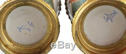 Pair of Sevres France Hand Painted Porcelain & Gilt Bronze Vases/Urns, c. 1900