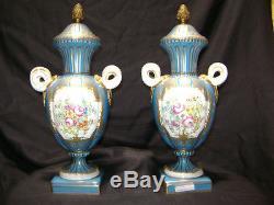 Pair of lamp bases of paris porcelain gold gilt floral hand painted aqua blue