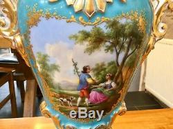 Paris Porcelain Jacob Petit Vase Hand Painted Heavily Gilded Circa 1830