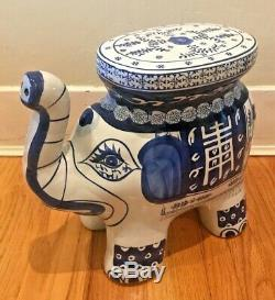 Porcelain Blue & White Elephant Hand Painted Garden Plant Stand / Side Table