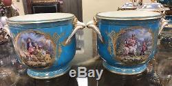 Pr. 19th C Sevres Porcelain Hand Painted Bronze Mounted Two Handle Cashpots Vase