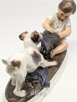 Pristine Signed Dahl Jensen 1072 Boy & Fox Terrier Royal Copenhagen Dog Figurine