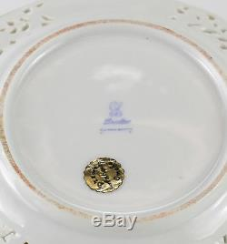 Qty 12 Dresden Carl Thieme Hand Painted Reticulated Bread & Butter Plates, c1900