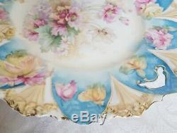 R. S. Prussia Hand Painted Roses Porcelain Handled Cake Plate Floral Mold 11 1/4
