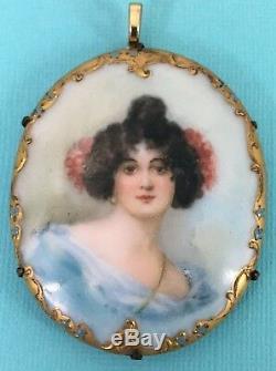 RARE Antique Vintage Porcelain Portrait Brooch Pin Pendent Hand Painted C Clasp