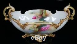 RARE Royal Worcester Porcelain Hand Painted Gondola Shaped Vase Bowl Roses 254