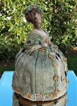 RARE VICTORIAN HAND PAINTED PORCELAIN DOLL PIN CUSHION REAL HAIR Georgian dress