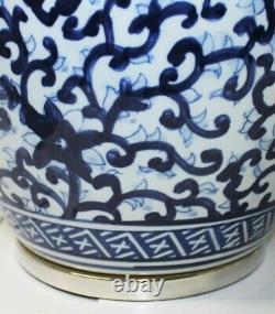 Ralph Lauren Home Floral Porcelain Ginger Jar Lamp Large Rare Hand painted KW4
